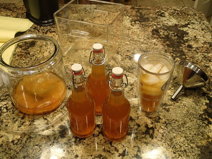 Homemade bottled kombucha